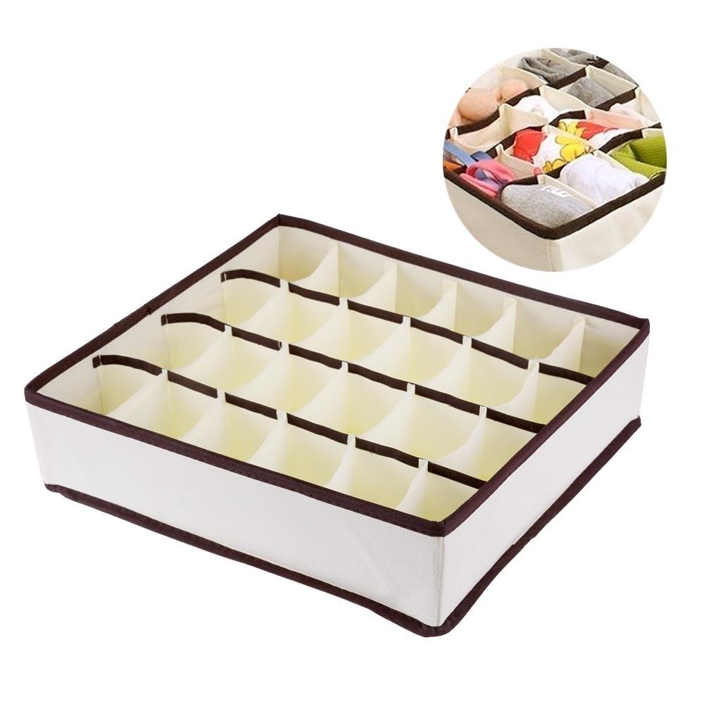 New Non Woven Fabric Folding Underwear Storage Box Bedroom: 24 Grid Foldable Drawer Divider Storage Bra Box Makeup