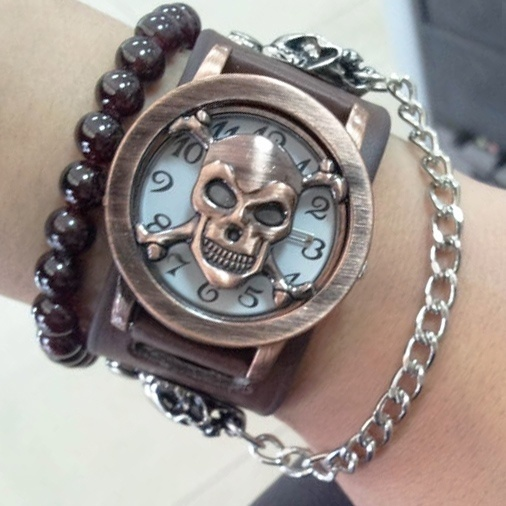 Quartz Watch Cool Gift Rock Punk Skull Skeleton Men Lady PU Band Bangle Cuff TT@88
