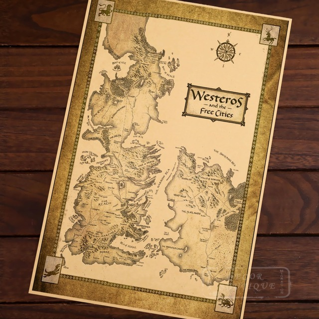 Westeros and The Free Cities Map Classic Vintage Retro Kraft ...