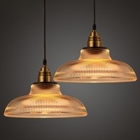 Antique Industrial Glass Pendant Light Vintage Retro Lamp Shade Cafe Bar