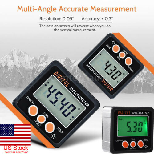 4*90° Digital Inclinometer Level Box Mini Protractor Angle Finder Bevel Gauge Magnet Magnetic Base Measuring Tools