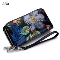 Uniego New Genuine Leather Long Wallet For Women Rfid Double Zipper Purse Large Capacity Female Flower Wallet Money Bag DC373