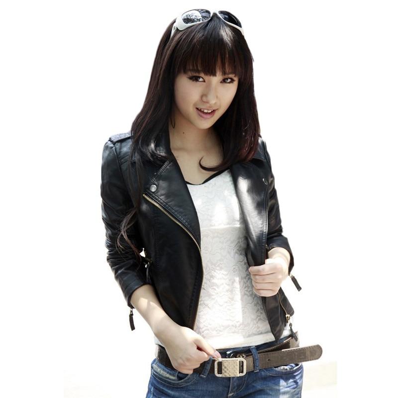 Faux   Leather   Coat Women Black S-5XL Plus Size PU Jacket 2019 New Spring Autumn Korean Fashion Chic Slim Moto   Leather   Coats CX923