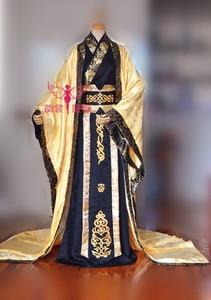 Image 2 - Precioso disfraz de Emperor para hombre, Color negro dorado, para fotografía, disfraz de manga ancha diseño de dragón con cola