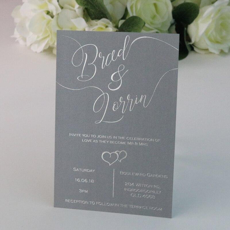 Silver Foiled Wedding Invitation Cards