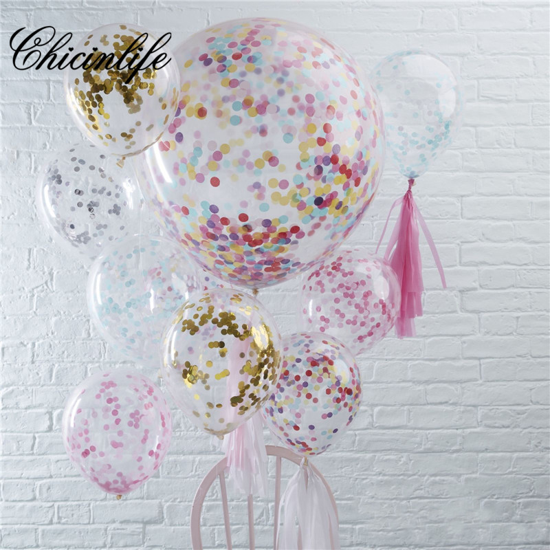 Chicinlife 5pcs 12Inch Inflatable Foil Confetti Balloon Happy Birthday Baby Shower Wedding New Year Ballon Decoration Supplies