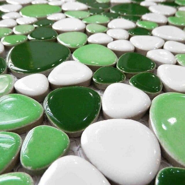 Verde color blanco mezclado backsplash de la cocina de cerámica ...
