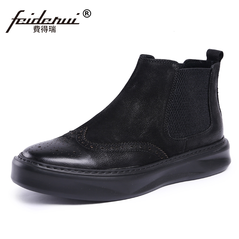British Flat Platform Handmade Man Carved High-Top Chelsea Shoes Vintage Genuine Leather Men