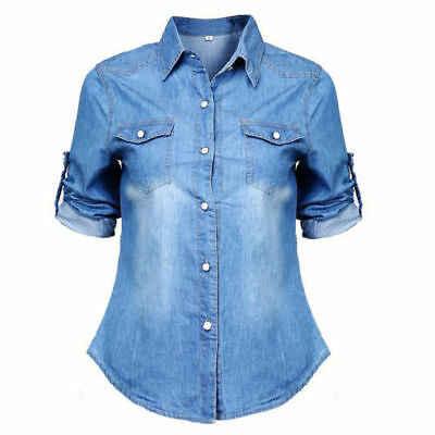 Mujeres bolsillos azul suelto Jean suave Denim de manga larga Camiseta Jumper cuello en V camisetas de manga larga Tops ropa de abrigo