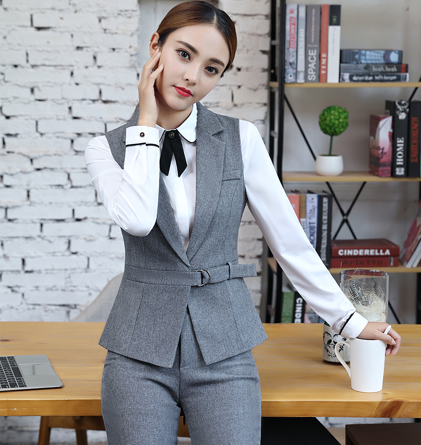 13875c66a7d New 2018 2 Piece Set Elegant Pant Suit Size S-4XL Waistcoat Belt ...