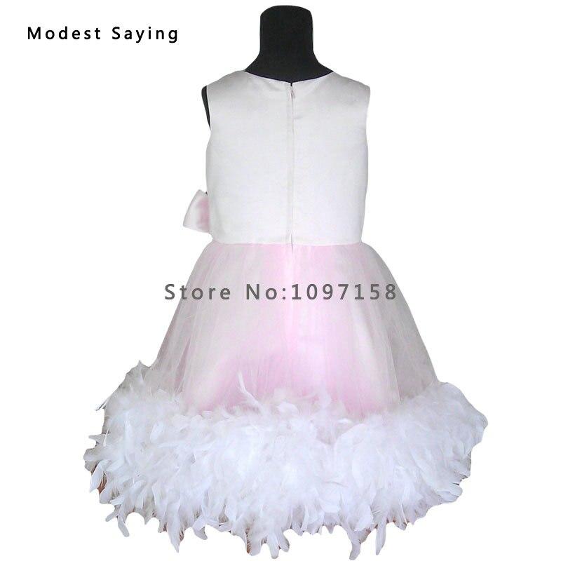 Gražus rožinis kamuolys suknelė plunksnų gėlių mergaitė - Suknelės vestuvėms - Nuotrauka 2