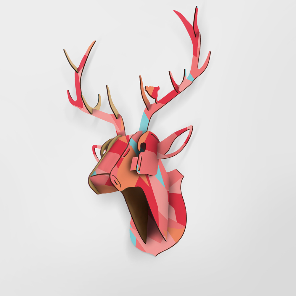 Limit Animal Christmas Reindeer Head Wooden Wall Hanging For Living - Hiasan rumah - Foto 1