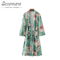 Summer Tops Blouse Vintage Floral Print Long Kimono Cardigan Flower 2017 New Pockets Open Loose Sashes