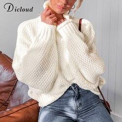 DICLOUD Turtleneck Oversized White Sweater Women Autumn 2019 Long Sleeve Pullover Knitted Jumper Winter Jersey Woman 1