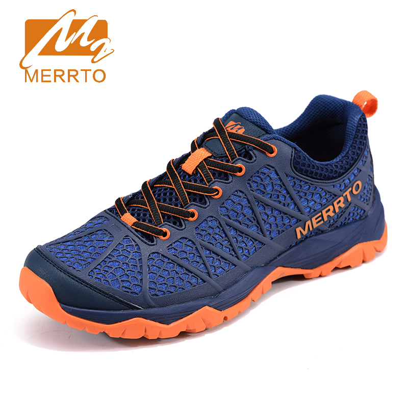 2017 Merrto Mens Outdoor Walking Shoes Breathable Sports Shoes Non-slip Travel Shoes Blue Grey Black Free Shipping MT18663 2017 merrto mens hiking boots waterproof breathable outdoor sports shoes color black khaki grey for men free shipping mt18638