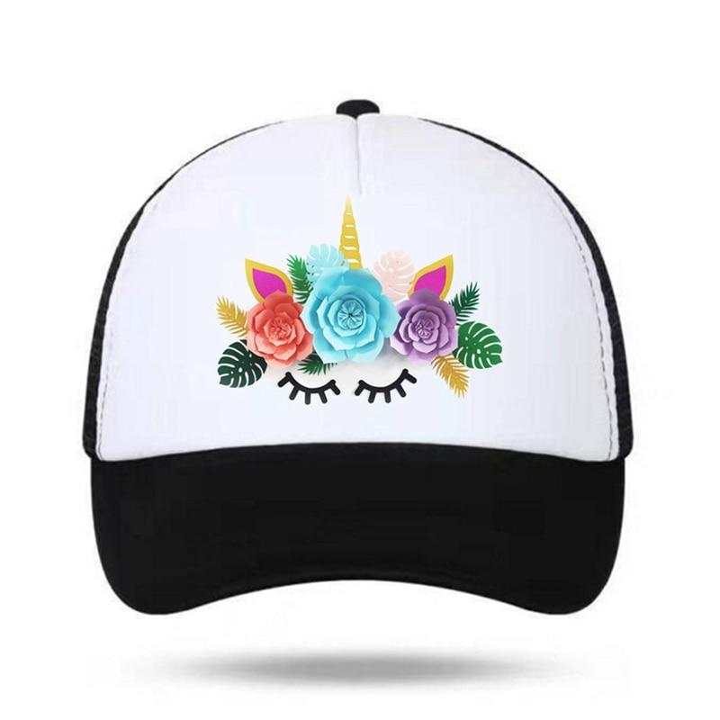 Aliexpress.com  Comprar Unicornio para el cabrito gorras de beisbol malla  flor unicornio caballo gorras Hip Hop sombrero Vary colores Flexable de  Gorras de ... dcae4df8171