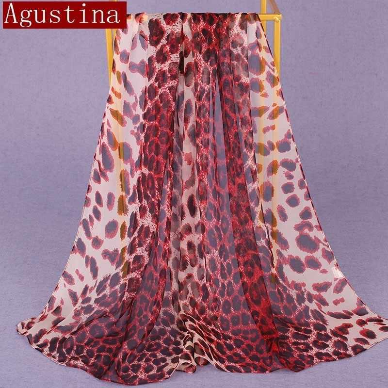 100% 실크 레오파드 인쇄 스카프 그라디언트 여성 패션 hijab 겨울 브랜드 얇은 가을 빨간색 긴 스카프 판쵸 럭셔리 숙녀 스카프