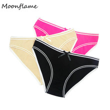 Moonflme 3 pcs/lots Womens Clothing Solid Color Ladies Cotton Underwear For Women Briefs 89161