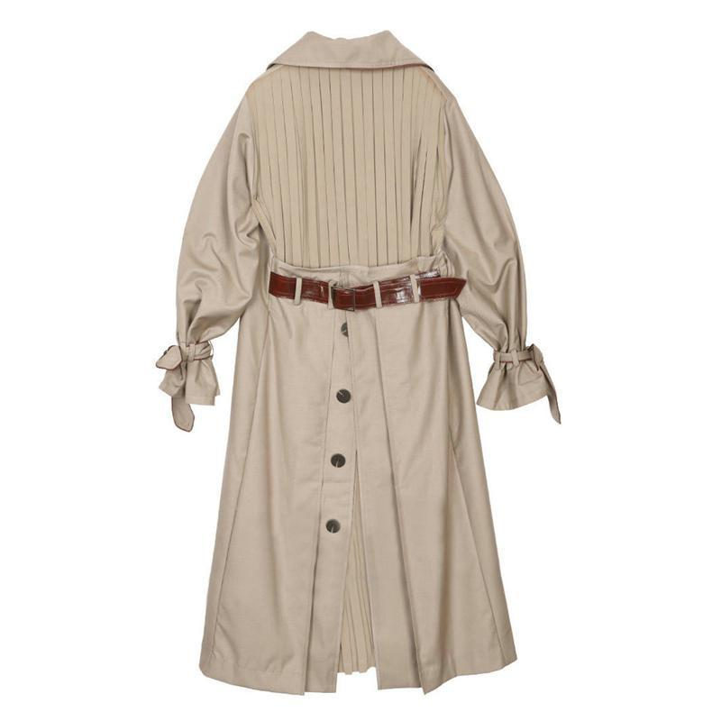 Women   Trench   Coat Pleated Spliced Irregular Windbreaker Single Breasted Loose Female Overcoat All Match Loose Long Coat 2019 New