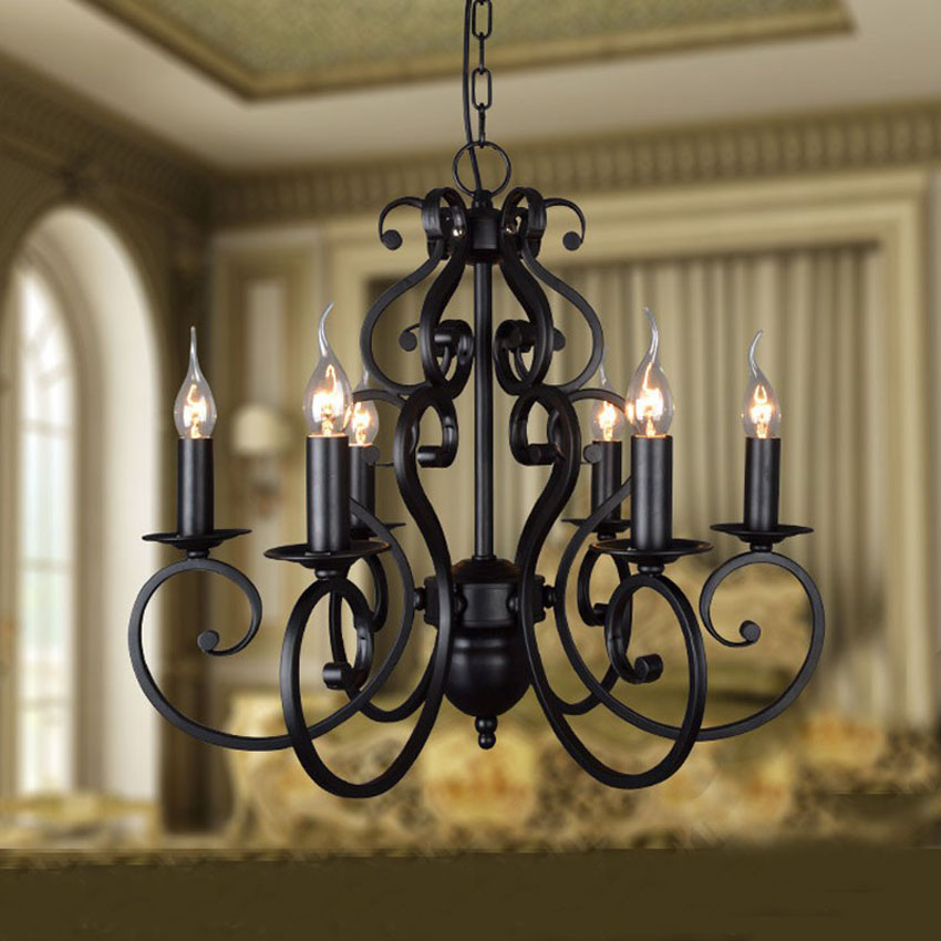 Wrought Iron Foyer Chandelier : Black wrought iron modern chandelier lighting heads