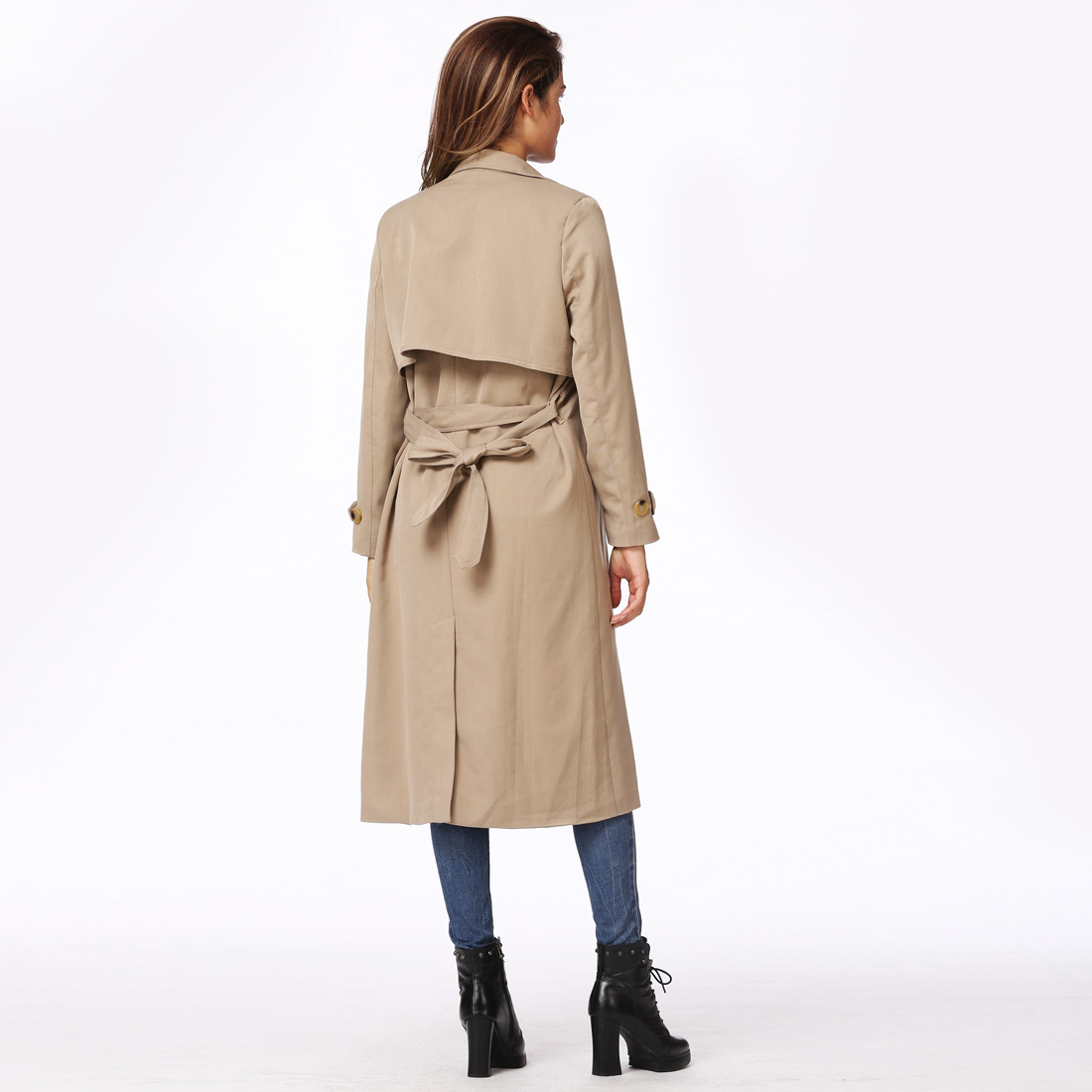Autumn Winter New Long   Trench   Coat Turn-down Collar Double-breasted Button Closure Long Sleeves Windbreaker Coat casaco feminino