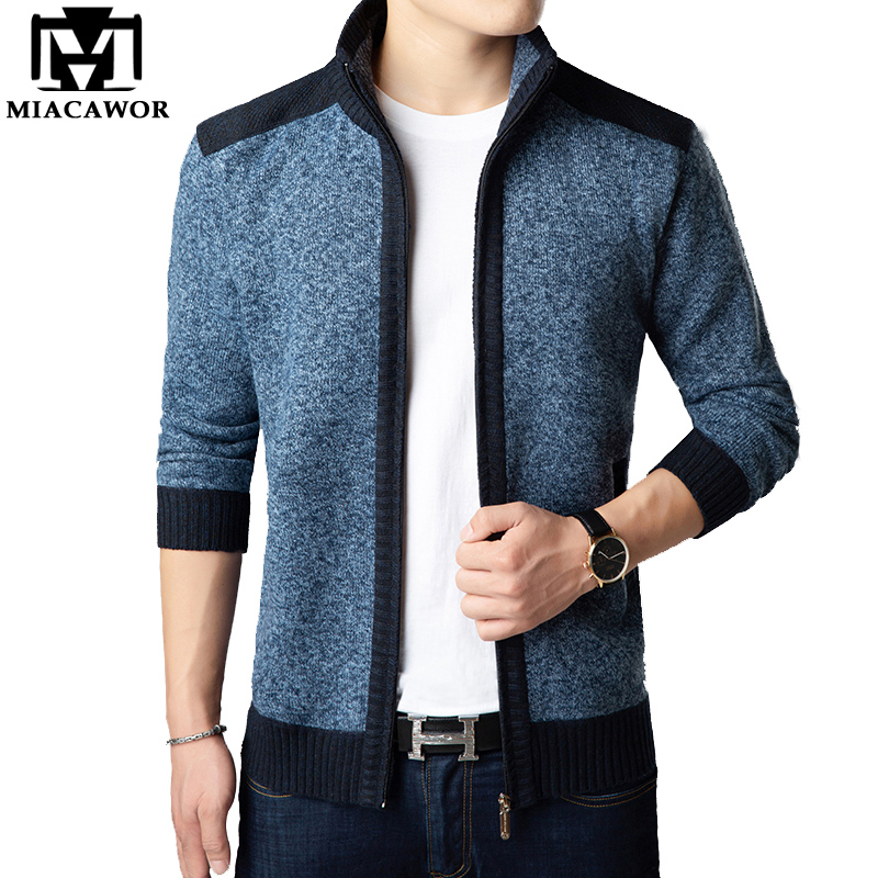 MIACAWOR New Autumn Winter Sweater Men Cashmere Cardigan Fleece Warm Knitwear Zipper Sweatercoat Drop Shipping Y092