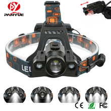 PANYUE 10PCS Adjustable 90 degree Aluminum Alloy Waterproof Zoomable T6+2XPE 1800lm Rechargeable LED headlamp Headlight