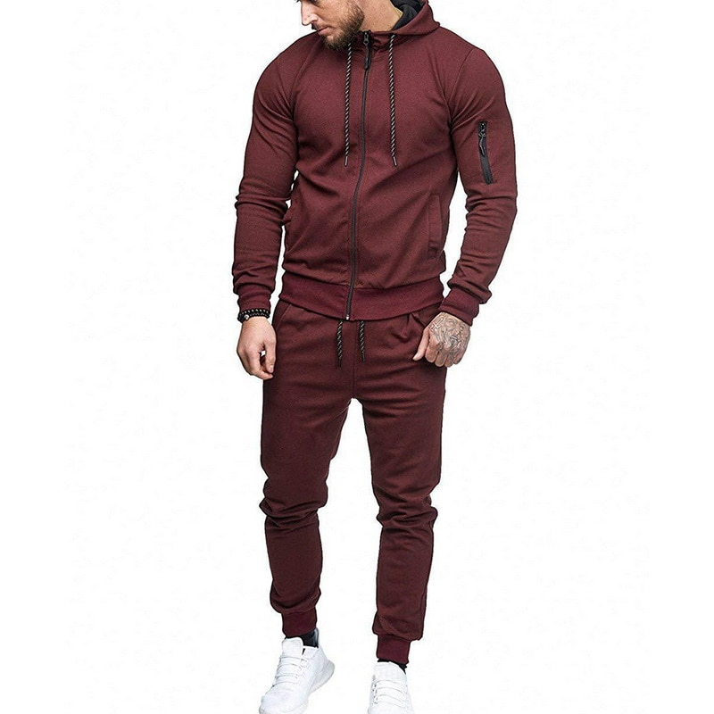 HTB1YabbazDuK1Rjy1zjq6zraFXam HEFLASHOR Men Drawstring Sportwear Set Fashion Solid Sweatshirt&Pants Tracksuit Casual Zipper Hoodies Outwear Clothes 2019