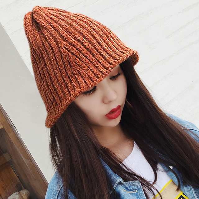 1e2ae8acacb Japanese literary cute fisherman hat Women s autumn and winter solid color  all match knit cap warm