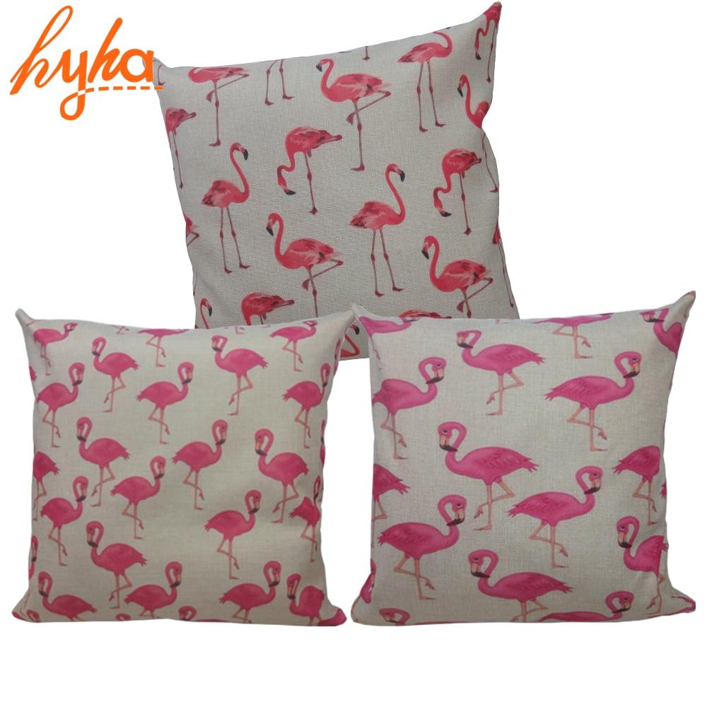 Linen Flamingo Rectangle Scatter Sofa Cushion Pink Cream Bombay Duck