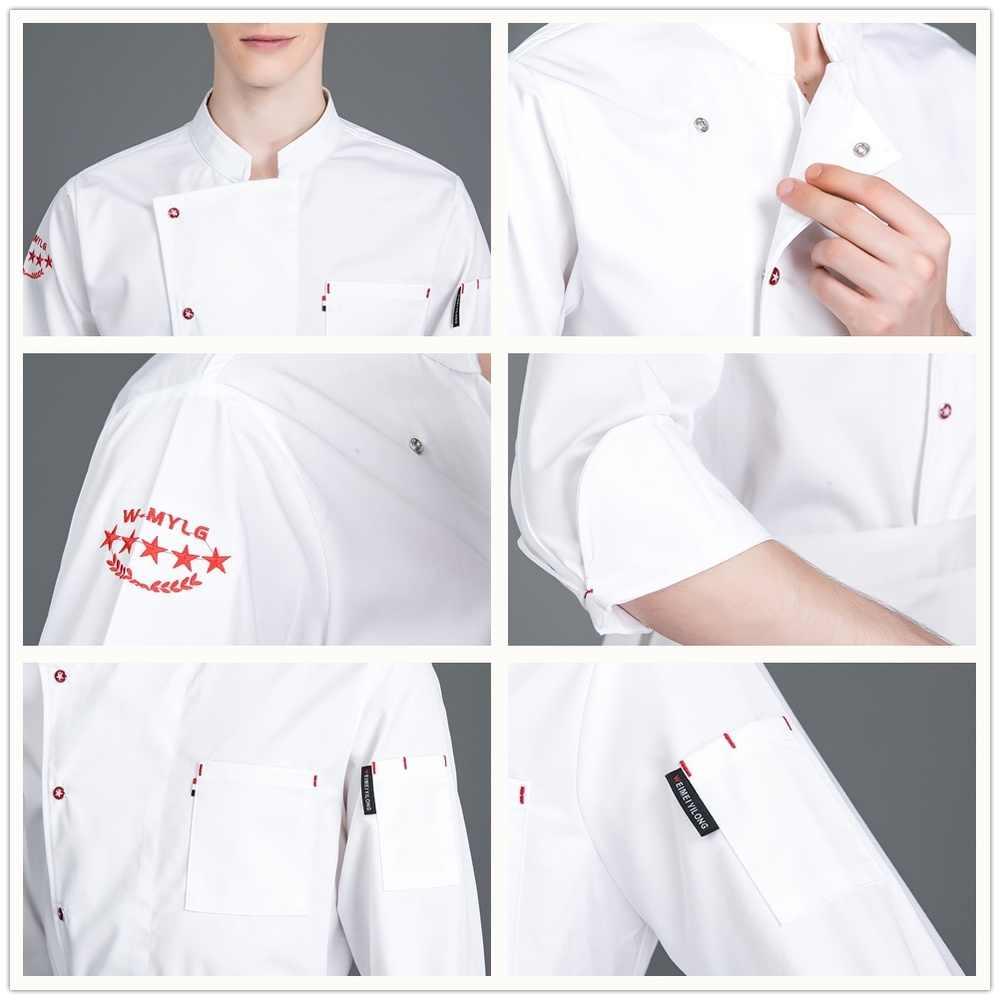 高品質の新長期スリーブシェフシャツユニークな男調理ワークジャケット服鍋ウェイターコート理髪店制服オーバーオール