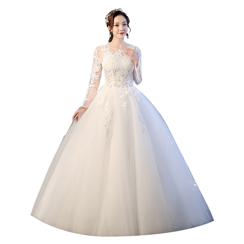Luxury Wedding Dress 2019 New Bride Lace Up Wedding Dress Ball Gown Long Sleeve Bridal Embroidery Dress