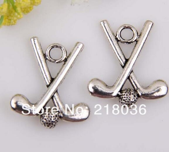 Vintage Silver Golf Stick Ball Charms Pendant Bead DIY For Jewelry Making Findings Bracelets Alloy Accessories Gifts 10pcs H161