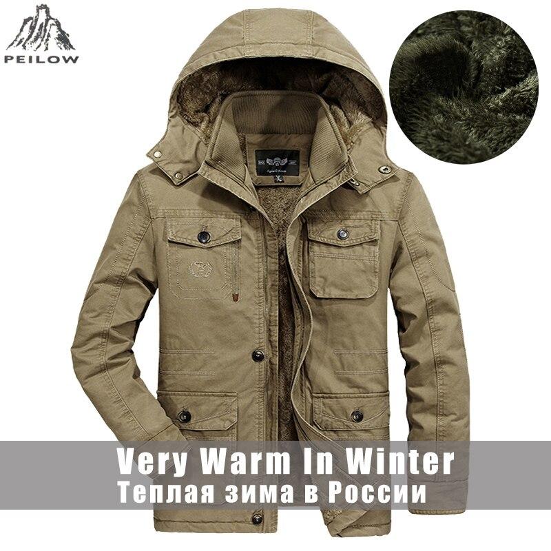 Plus Size L 6XL, 7XL, 8XL winter jas mannen Dikker Fleece Warm 100% Katoen Bont Hooded Mannen Parka Uitloper heren Jassen-in Jassen van Mannenkleding op  Groep 1