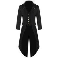 Для мужчин пальто куртка стимпанк панк ретро смокинг мужской фраки 2019 ветровка Длинный блейзер плюс размеры 5XL s Тренч