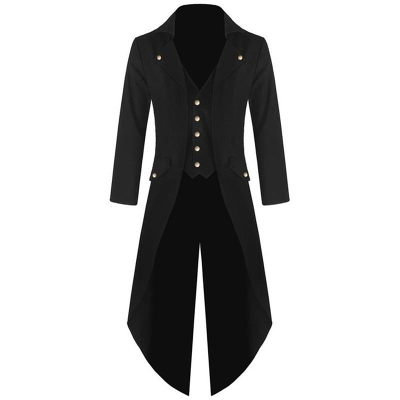Men's Coat Jacket Steampunk Men Punk Retro Tuxedo Male Tailcoat Suits 2019 Windbreaker Long Blazer Plus Size 5XL Mens Trench