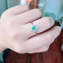Natural Emerald Rings for Femal 4mmx6mm Luxurious fine Jewelry Emerald Jewelry Cuted Genuine Gemstones 925 Sterling silver