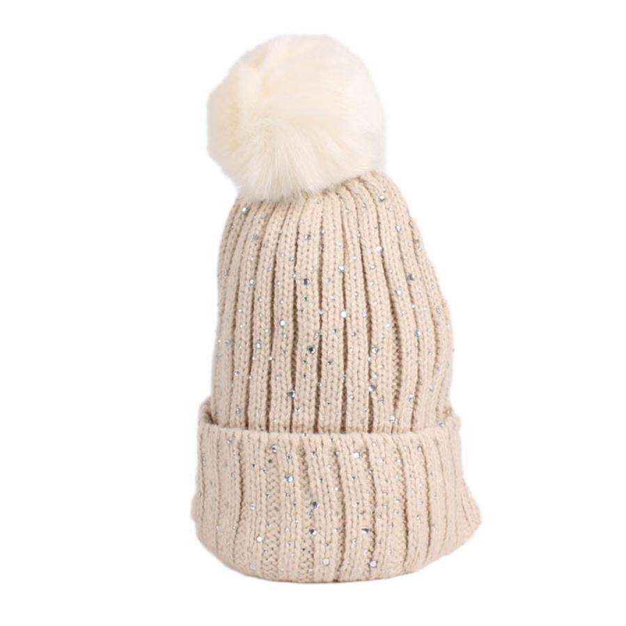 BMF TELOTUNY Fashion Children Baby Girls Winter Knitting Hairball Hat Warm Hat Pile Cap Ski Cap Apr9 Drop Ship