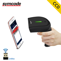 Symcode CCD Wireless Barcdeo Scanner,30 100 meters Transfer Distance,16M Storage Space,Can read 1D Screen Code