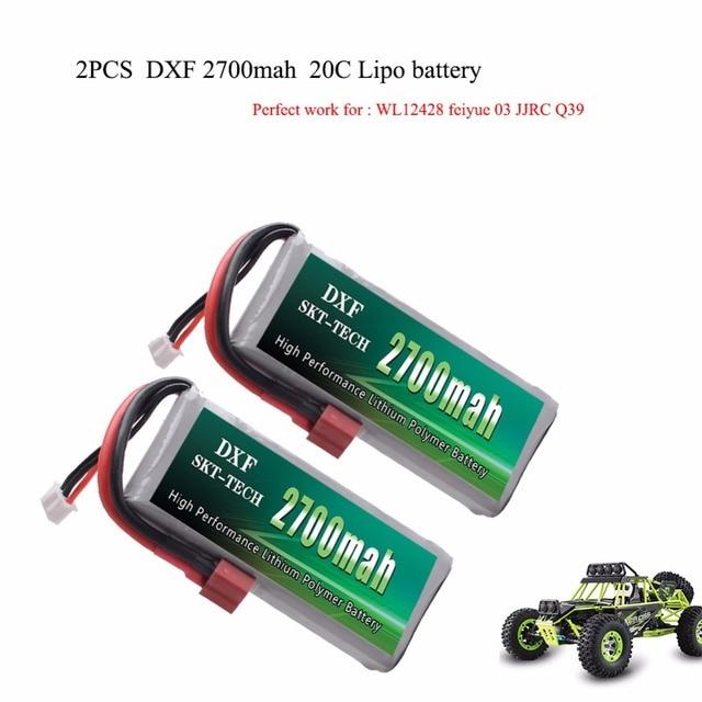 2 шт. DXF RC Lipo батарея 2 s 7,4 V 2700 mAh 20C Max 40C для Wltoys 12428 feiyue 03 JJRC Q39 обновленные части
