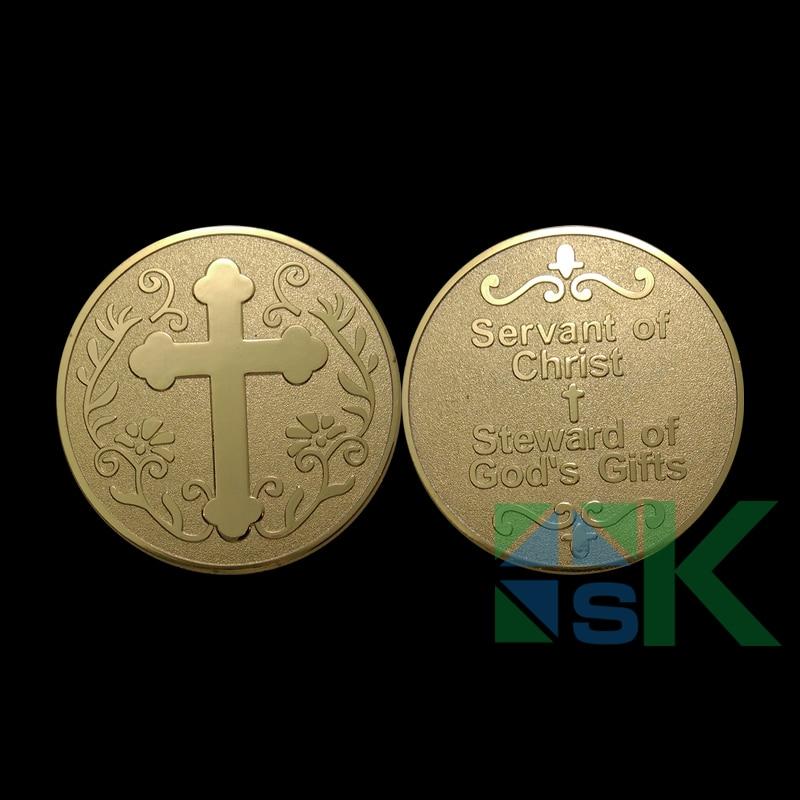 1/3/5/unids 10 piezas medalla de siervo de Cristo apoyo cristiano Cruz moneda administrador de los regalos de Dios chapado en oro monedas de recuerdo coleccionables