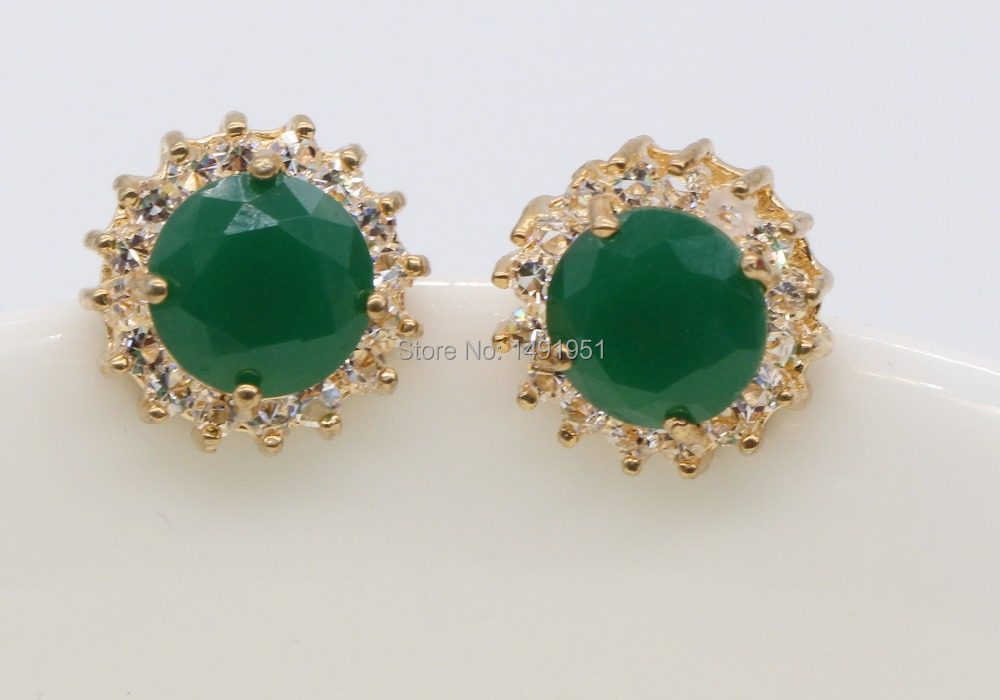 Classic Simple Design Champagne Gold Color Created Emerald AAA Cubic ...