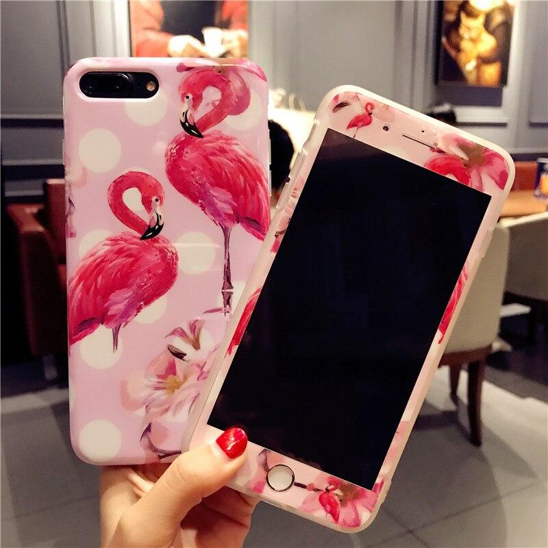 For iphone 7 7plus Luxury Flamingo phone Cases Cover + Tempered Glass Screen Protector for iPhone 8 8plus 6 6S 6sPlus Cute Fudas
