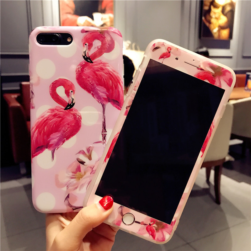 For iphone 7 7plus Luxury Flamingo phone Cases Cover + Tempered Glass Screen Protector for iPhone 8 8plus 6 6S 6sPlus Cute Fudas