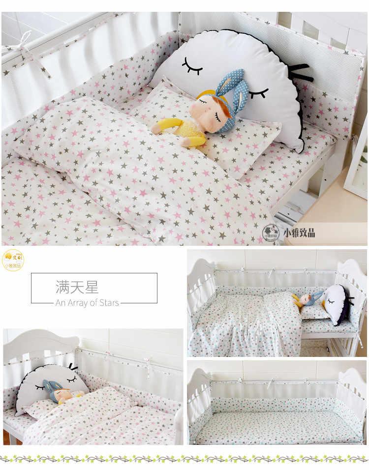 7 個の漫画のパターンベビーベビーベッド寝具セット通気性ベビーベッドリネンキットには、バンパーシート布団/キルトカバー枕