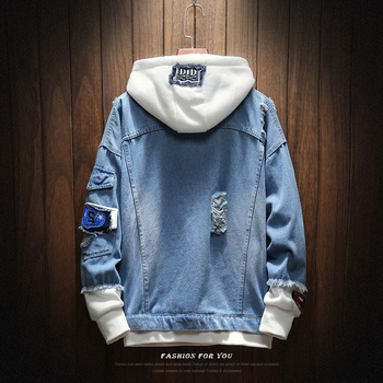 2019 New hooded denim jacket men fashion fake two pieces patchwork denim coat streetwear casual hole jacket mens denim clotheing 3