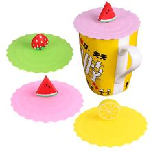 Cartoon Fruit Dustproof Reuseable Silicone Cup Cover Coffee Leakproof Suction Seal Lid Cap