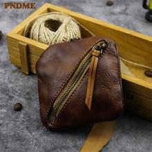 PNDME handmade mini genuine leather coin purse simple summer daily soft top layer cowhide small zipper card ID Holders bags
