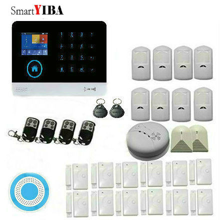 SmartYIBA Door PIR Motion Detector Alarm Wireless Home WIFI GSM Alarm Glass Break Sensor Wireless SMS Burglar Alarm System wireless glass break sensor for gsm pstn alarm system home surveillance use glass smash detector with adaptor high quality