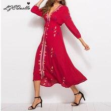 Женское винтажное длинное платье с вышивкой boho платья Летний Пляжный женский сарафан праздник v шеи boho vestidos